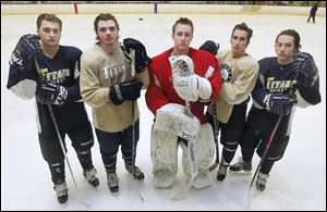 St. John's is the favorite in the competitive Red Division of the Northwest Hockey Conference. The Titans are led by top players, from left, Ian Rapp,  Dominic Horvath, Mike Barrett, Ben Hamilton, and Caleb Hauenstein. St. John's finished 26-8 last season and reached the district final for a third straight year.