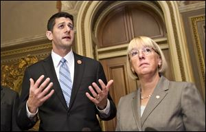 House Budget Committee Chairman Rep. Paul Ryan, R-Wis., left, and Senate Budget Committee Chair Patty Murray, D-Wash., on Capitol Hill in Washington.
