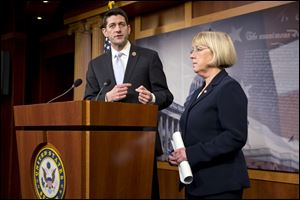 House Budget Committee Chairman Paul Ryan, R-Wis., and Senate Budget Committee Chairwoman Patty Murray, D-Wash., announce a tentative agreement between Republican and Democratic negotiators on a government spending plan, at the Capitol in Washington.