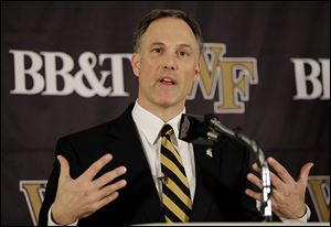 Dave Clawson is introduced as the new football coach for Wake Forest. In five seasons, he led the Falcons to a 32-31 record and clinched the program's first league title since 1992.