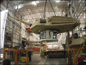 The production of an Abrams tank in Lima, Ohio.