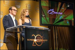 Clark Gregg and SAG Awards Social Media Ambassador /Actress Sasha Alexander announce the nominees for the 20th Annual Screen Actors Guild Awards at the Pacific Design Center in Los Angeles.