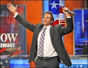Comedian/writer Paul Mecurio warms up the crowd before Comedy Central's 'The Daily Show with Jon Stewart' during a 2008 election coverage show.