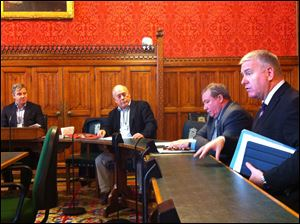 From left, United National Officer Rhys McCarthy, FLOC President Baldemar Velasquez, British Parliament member James Sheridan,  Parliament member Ian Lavery meet in the House of Commons.