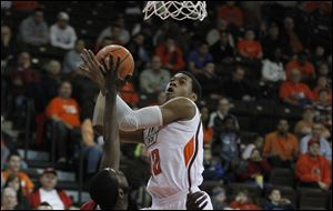 BGSU's Richaun Holmes had two points, two rebounds, and one block in the first half before exploding for 19 points, 12 rebounds, and six blocks in the second.