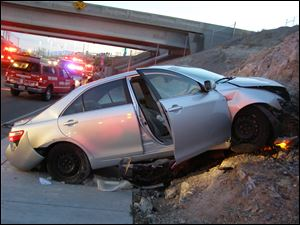 A Toyota Camry is shown after it crashed as it exited Interstate 80 in Wendover, Utah in November, 2010.