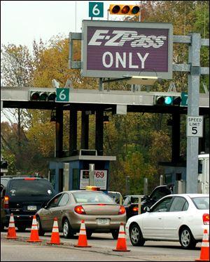 E-ZPass sign at a toll booth.