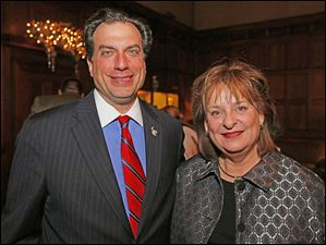 Joe Napoli with Carol Contrada at the Block Communications party.