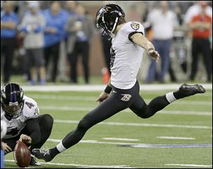 Baltimore Ravens kicker Justin Tucker blasts a field goal during the third quarter in Detroit. He kicked the game-winner.