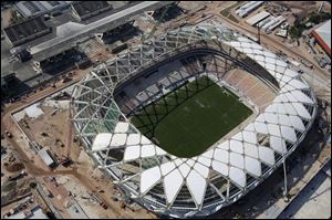 An aerial view of the Arena da Amazonia stadium in Manaus, Brazil.