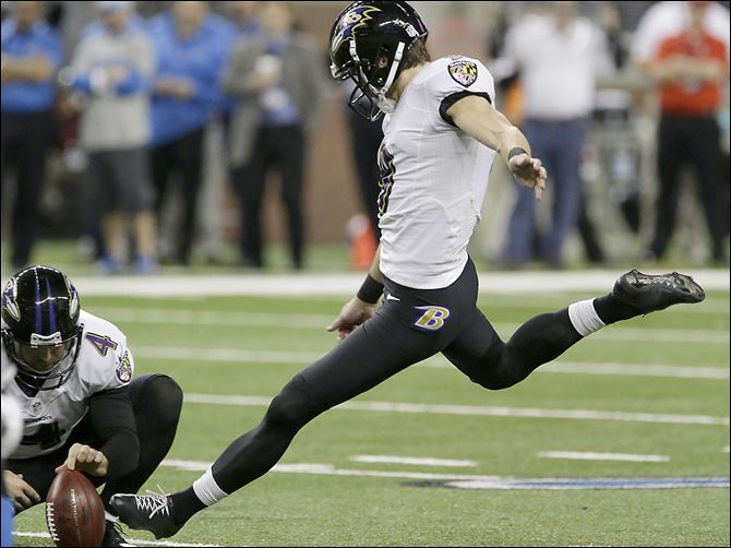 s3tucker Baltimore Ravens kicker Justin Tucker blasts a field goal during the third quarter in Detroit. He kicked the game-winner.