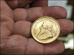 A gold South African Krugerrand that was dropped into a Salvation Army kettle in Bay City, Mich.