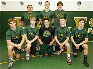 Clay High School wrestlers front row left to right  Nick Stencel, Richie Screptock, Gavin Nelson, Jared Davis, and Aaron Henneman; back row left to right Antonio Zapata, Matt Stencel, and Brian Richmond.