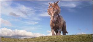 A mature Pachyrhinosaurus named Patchi is shown in a scene from the film,