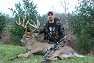 Shawn Evangelista of Geneva harvested this 24-point buck while bow hunting in Harpersfield Township in Ashtabula County in late November. He had been stalking the big buck for three years.