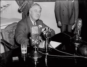 President Franklin D. Roosevelt delivering one of his fireside chats. He contended that the country faced a crisis that required a practical response.