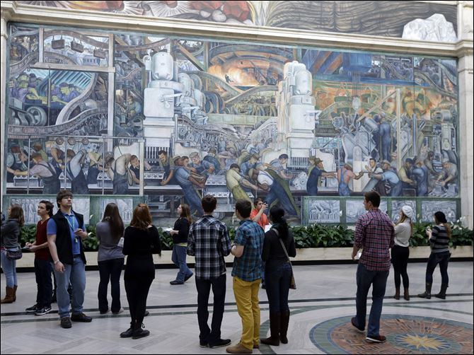 The Detroit Industry Murals by the Diego Rivera at the Detroit Institute of Arts in Detroit.