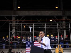 President Obama speaks at ArcelorMittal, a steel mill in Cleveland on Nov. 14.