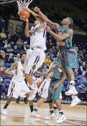 Toledo's J.D. Weatherspoon grabs a rebound against Florida A&M. The Rockets are outrebounding foes 35.8-30.4 this season.