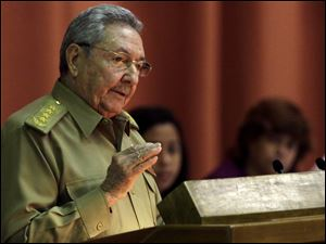 Cuba's President Raul Castro delivers his speech at the closing of the second day of a twice-annual legislative sessions, at the National Assembly in Havana, today.