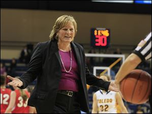 Toledo coach Tricia Cullop questions an official's call.