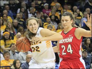 Toledo's Ana Capotosto driving past UD's Andrea Hoover in the first half.