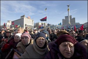 Pro-European Union activists gather Sunday in Independence Square in Kiev, Ukraine.