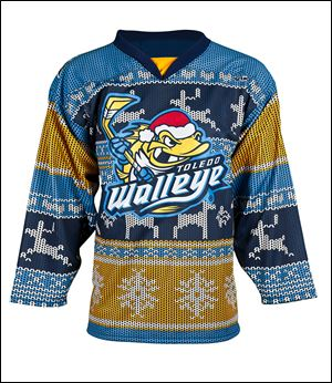 The Walleye will be wearing these special jerseys on Ugly Sweater Night during Saturday's game against Cincinnati.