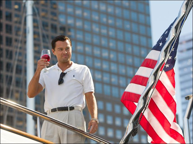 Film Review The Wolf of Wall Street This film image released by Paramount Pictures shows Leonardo DiCaprio as Jordan Belfort in a scene from