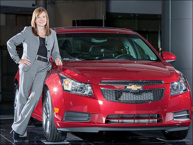 b5barra Mary Bara, 52, with a 2011 Chevrolet Cruze, started at General Motors when she was 18 and showed leadership abilities while  later working within the company's team of engineers.