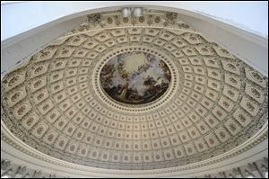 The ceiling of the Capitol Rotunda during a media tour on Capitol Hill in Washington. A world-famous symbol of democracy is going under cover, as workers start a two-year renovation of the U.S. Capitol dome.