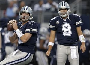 Kyle Orton, left, will play in place of the injured Tony Romo, right.