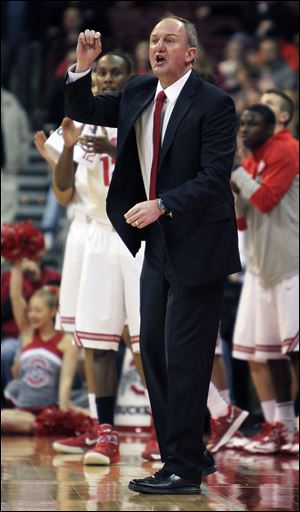 Ohio State head coach Thad Matta shouts instructions to his team Friday.