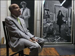 Portraits of the artists by the artist Leslie Adams in her Toledo studio. Jazz musician Jon Hendricks in figurative artist Leslie Adams' Toledo studio on April 8.