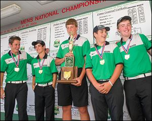 Ottawa Hills' Ben Silverman, left, Michael Denner, R.J. Coil, Matt Abendroth, and Ben Dayton won the Division III state golf title.