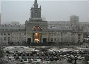 In this photo made by a public camera and made available by the Associated Press Television News an explosion hits the Volgograd railway station on Sunday.