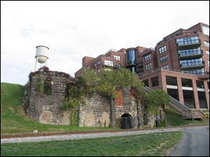 The brick and granite remnants of the James River Steam Brewery built in 1866 along the James River is seen in Richmond, Va.