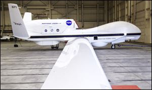 A NASA Global Hawk drone sits in a hangar at Dryden Flight Research Center at Edwards Air Force Base in California. The six states chosen to develop research sites for drones did not include California.