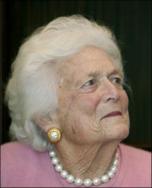 In this Dec. 23, 2013 photo, Former first Lady Barbara Bush looks on during a ceremony at President Bush's office in Houston. Former first lady Barbara Bush has been hospitalized in Houston with a respiratory-related issue, Tuesday, Dec. 31, 2013. A statement Tuesday night from the office of her husband, former President George H.W. Bush, said she was admitted to Houston Methodist Hospital on Monday.(AP Photo/Houston Chronicle, James Nielsen) MANDATORY CREDIT; MAGS OUT