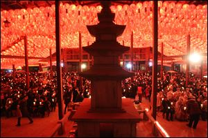 Buddhists attend New Year's Eve celebrations at the Bongeun Buddhist temple in Seoul, South Korea.