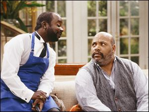 Joseph Marcell, left, as Geoffrey, and James Avery, right, as Philip Banks, in an episode of 'The Fresh Prince of Bel-Air' in 1994.
