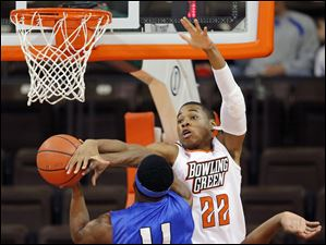 Bowling Green State University forward Richaun Holmes (22) blocks a shot by IPFW guard Isaiah McCray (11).