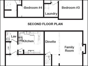 These floor plans highlight the open design and generous room sizes.