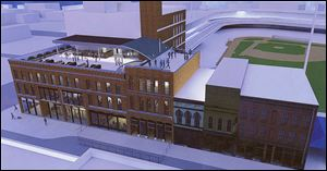 An architect's rendering supplied by the Toledo Mud Hens organization shows the proposed Hensville development at Washington and South St. Clair streets.