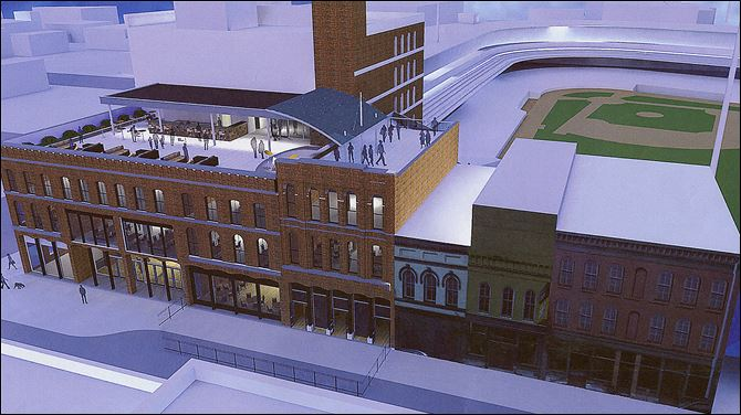 n7projects An architect's rendering supplied by the Toledo Mud Hens organization shows the proposed Hensville development at Washington and South St. Clair streets.