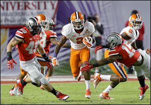 Clemson wide receiver Sammy Watkins splits the Ohio State defense. Watkins had 227 yards receiving for the Tigers.