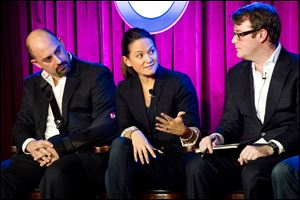 Shazam Entertainment EVP Advertising Sales Evan Krauss, left, Pandora VP Eastern Region Priscilla Valls and Spotify VP US Ad Sales Jon Mitchell participate in a panel on Internet radio.