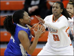 Bowling Green State University forward Alexis Rogers (32), shown in recent game against Buffalo, was named MAC East player of the week.