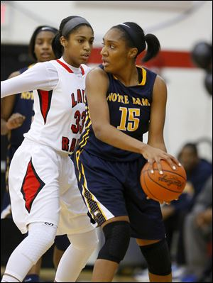 Notre Dame's Kaayla McIntyre is guarded by Rogers' Marquelle Williams. McIntyre averages 11.6 points and a team-high 9.0 rebounds.