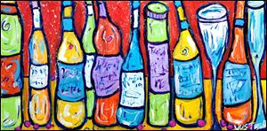 'Wine Bottles #10,' acrylic on canvas by Greg Justus. A show of his work is at Downtown Latte, 44 S. St. Clair St., which will host a reception from 11 a.m. to 1 p.m. Saturday.